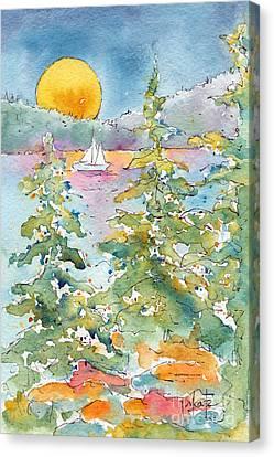 Sunset Sail On Waskesiu Lake Canvas Print by Pat Katz
