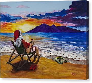 Sunset Santa Canvas Print by Darice Machel McGuire