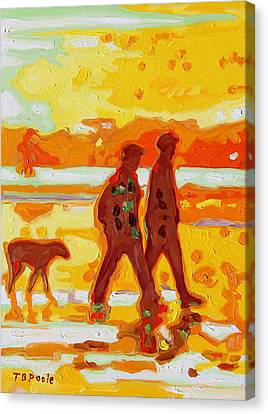 Sunset Silhouette Carmel Beach With Dog Canvas Print by Thomas Bertram POOLE