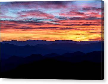 Sunset Silhouette On The Blue Ridge Parkway Canvas Print by Andres Leon