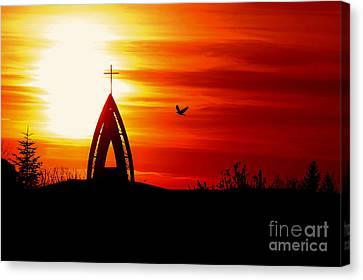 Sunset - Sky In The Fire Canvas Print by Martin Dzurjanik