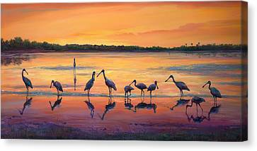 Sunset Spoonbills Canvas Print by Laurie Hein