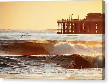 Sunset Surf Santa Cruz Canvas Print by Paul Topp