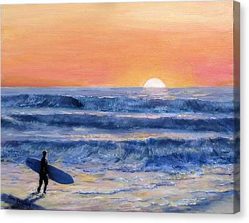 Sunset Surfer Canvas Print by Jack Skinner