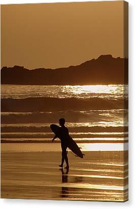 Sunset Surfer Canvas Print by Ramona Johnston