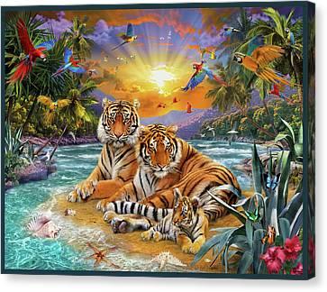 Sunset Tigers Canvas Print by Jan Patrik Krasny