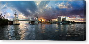 Sunset Waterway Panorama Canvas Print by Debra and Dave Vanderlaan
