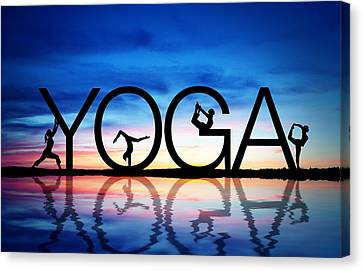 Sunset Yoga Canvas Print by Aged Pixel