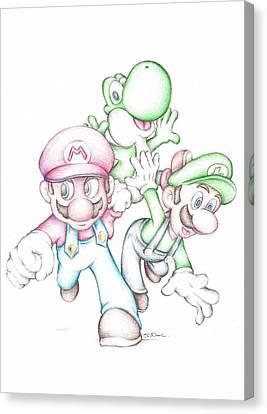 Super Mario With Luigi Yoshi Coloured Pencil Drawing