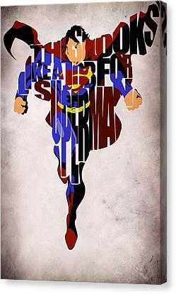 Superman - Man Of Steel Canvas Print by Ayse Deniz