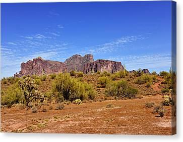 Superstition Mountains Arizona - Flat Iron Peak Canvas Print by Christine Till