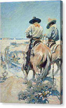 Supply Wagons Canvas Print by Newell Convers Wyeth