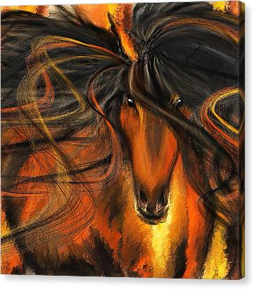 Equine Vagabond - Bay Horse Paintings Canvas Print by Lourry Legarde