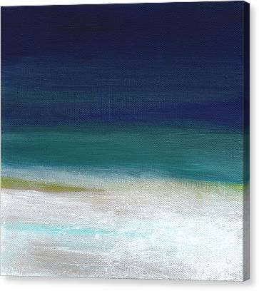 Surf And Sky- Abstract Beach Painting Canvas Print by Linda Woods