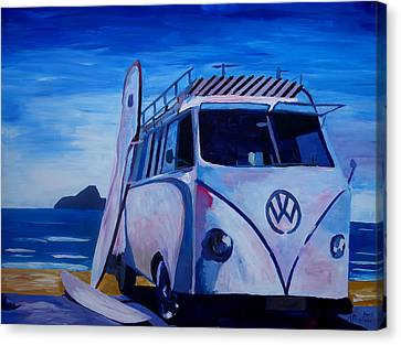 Surf Bus Series - The White Volkswagen Canvas Print by M Bleichner