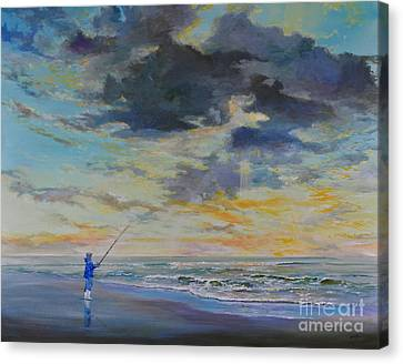 Surf Fishing Canvas Print by AnnaJo Vahle