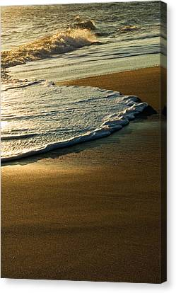 Surf On Sandy Beach, Sunrise Light Canvas Print by Panoramic Images