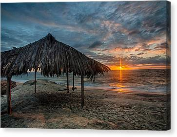 Surf Shack Sunset Canvas Print by Peter Tellone