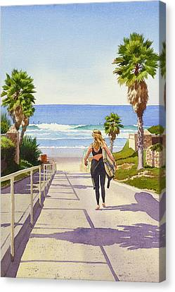 Surfer Girl At Fletcher Cove Canvas Print by Mary Helmreich
