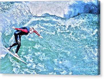 surfer in Eisbach River Canvas Print by Judith Katz