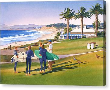 Surfers Gathering At Del Mar Beach Canvas Print by Mary Helmreich