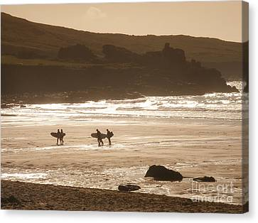 Surfers On Beach 02 Canvas Print by Pixel Chimp