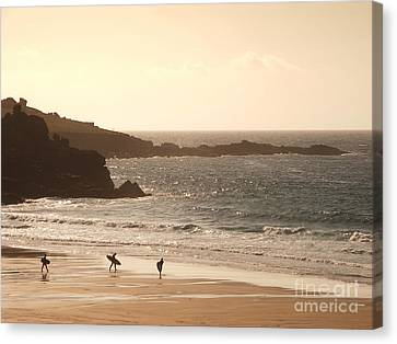 Surfers On Beach 03 Canvas Print by Pixel Chimp