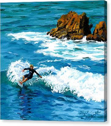 Surfin' Laguna Rocks Canvas Print by Alice Leggett