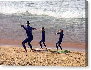 Surfing Lesson Canvas Print by Stuart Litoff
