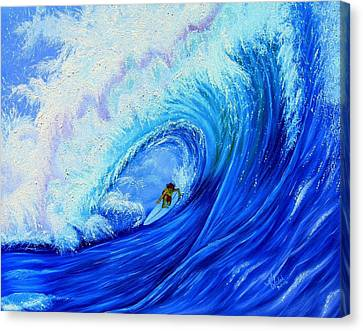 Surfing The Wild Wave Canvas Print by Kathern Welsh