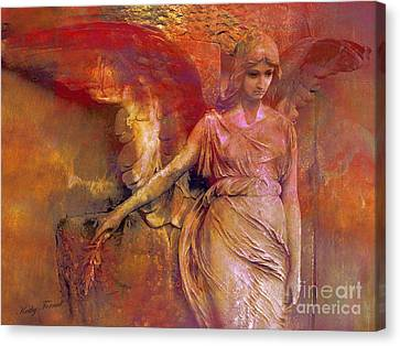 Surreal Angel Art Photography - Dreamy Impressionistic Surreal Ethereal Angel Art Canvas Print by Kathy Fornal