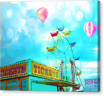 Surreal Aqua Teal Carnival Tickets Booth With Ferris Wheel And Hot Air Balloons - Carnival Fair Art Canvas Print by Kathy Fornal
