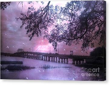 Surreal Beaufort South Carolina Nature And Bridge  Canvas Print by Kathy Fornal
