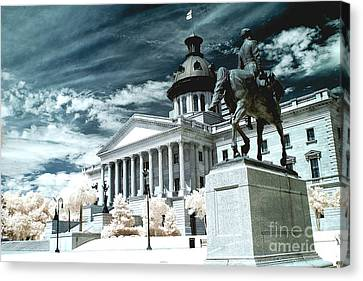 Surreal Columbia South Carolina State House - Statue Monuments Canvas Print by Kathy Fornal