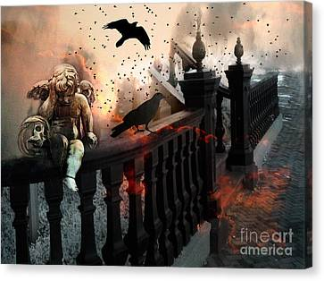 Surreal Dark Fantasy Gothic Cherub Skull And Ravens - The End Days - Apocolyptic  Canvas Print by Kathy Fornal