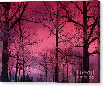 Surreal Dark Pink Fantasy Nature - Haunting Dark Pink Sky Nature Tree Forest Woodlands Canvas Print by Kathy Fornal