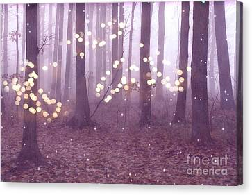 Surreal Dreamy Fairy Lights Ethereal Pink Lavender Woodlands Twinkling Lights Fantasy Nature  Canvas Print by Kathy Fornal