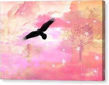Surreal Dreamy Fantasy Ravens Pink Sky Scene Canvas Print by Kathy Fornal