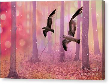 Surreal Fairytale Fantasy Nature Bird Woodland Landscape Canvas Print by Kathy Fornal