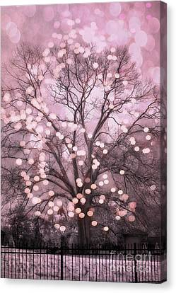 Surreal Fairytale Pink Nature Trees Fairy Lights Bokeh Nature Decor - Pink Holiday Fairy Lights Tree Canvas Print by Kathy Fornal