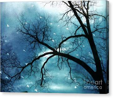 Surreal Fantasy Haunting Gothic Tree With Birds Canvas Print by Kathy Fornal
