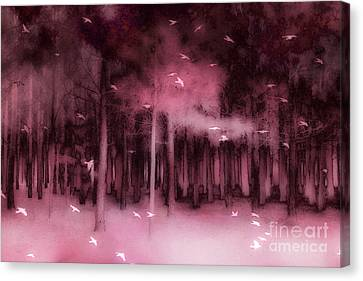 Surreal Fantasy Nature Forest Trees Woodlands Ravens Birds  Canvas Print by Kathy Fornal