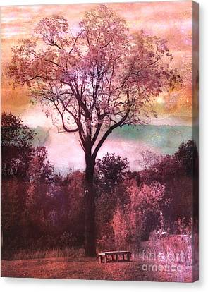 Surreal Fantasy Nature Tree Pink Landscape Canvas Print by Kathy Fornal