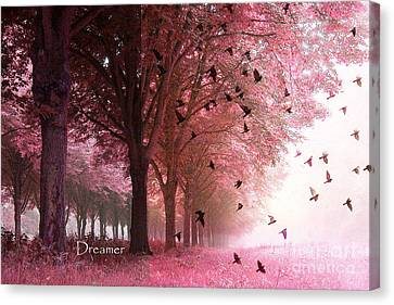 Surreal Fantasy Pink Nature Forest Woods With Birds Flying  Canvas Print by Kathy Fornal