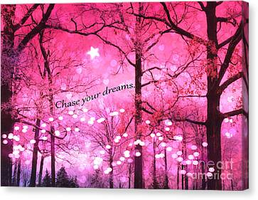 Surreal Fantasy Pink Nature With Inspirational Message - Hot Pink Sparkling Twinkling Lights Trees Canvas Print by Kathy Fornal