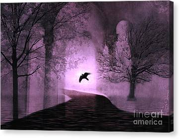 Surreal Fantasy Purple Nature Trees With Raven Flying Into Light Canvas Print by Kathy Fornal
