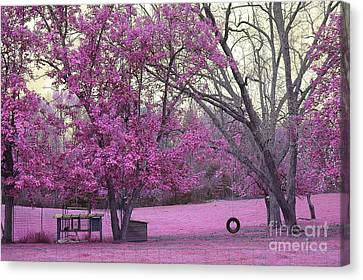 Surreal Fantasy South Carolina Pink Fall Landscape With Swing Canvas Print by Kathy Fornal