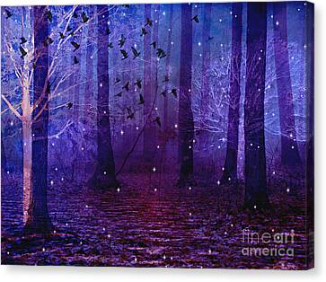 Surreal Fantasy Starry Night Purple Woodlands - Purple Blue Fantasy Nature Fairy Lights  Canvas Print by Kathy Fornal