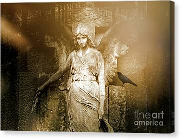 Surreal Gothic Angel Art Photography - Spiritual Ethereal Sepia Angel With Black Raven  Canvas Print by Kathy Fornal