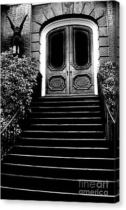 Charleston Surreal Gothic Black And White Staircase And Door With Gargoyle Canvas Print by Kathy Fornal